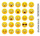 set of twenty five emoticons.... | Shutterstock .eps vector #585835034