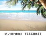 summer background of beach and... | Shutterstock . vector #585838655