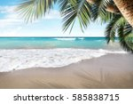 summer background of beach and... | Shutterstock . vector #585838715