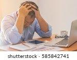 stress at work   | Shutterstock . vector #585842741