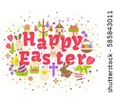 happy easter label isolated on... | Shutterstock .eps vector #585843011