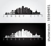 jersey city usa skyline and... | Shutterstock .eps vector #585849851