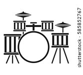 drum kit icon. simple... | Shutterstock .eps vector #585852767