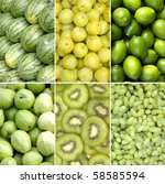 Collage Of Green Healthy Fruits