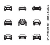 car icons set. black on a white ... | Shutterstock .eps vector #585856031