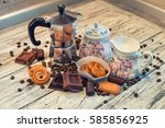 a coffee pot  a sugar bowl  a... | Shutterstock . vector #585856925