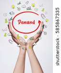Small photo of Technology, internet, business and marketing. Young business woman writing word: Demand