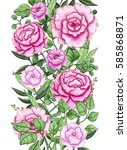 seamless border with watercolor ... | Shutterstock . vector #585868871