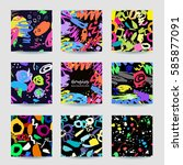 colorful seamless patterns and... | Shutterstock .eps vector #585877091