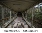 corridor in abandoned building... | Shutterstock . vector #585880034