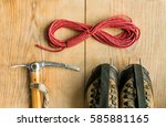 climbing equipment  rope ... | Shutterstock . vector #585881165