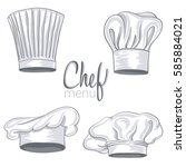 collection of hand drawn chef... | Shutterstock .eps vector #585884021