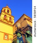 statues and bell tower of the... | Shutterstock . vector #5858914