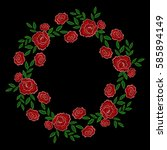 embroidery stitches rose wreath ... | Shutterstock .eps vector #585894149