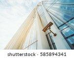 single surveillance camera on... | Shutterstock . vector #585894341