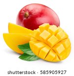 mango isolated on white... | Shutterstock . vector #585905927