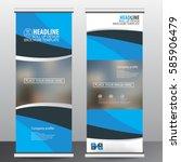 blue roll up business brochure...   Shutterstock .eps vector #585906479