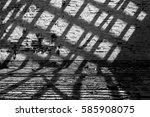 brick wall and floor with dark... | Shutterstock . vector #585908075