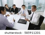 executives having a discussion... | Shutterstock . vector #585911201