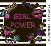 """fashion poster """"girl power""""...   Shutterstock .eps vector #585913421"""