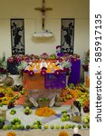 Small photo of November 2, 2016: Altar offering of day of the dead (Dia de muertos) in Xochimilco, Mexico City