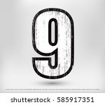 grunge number 9.vector distress ... | Shutterstock .eps vector #585917351
