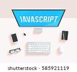 javascript desktop computer | Shutterstock .eps vector #585921119