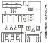 kitchen modern furniture icons. ... | Shutterstock . vector #585921395