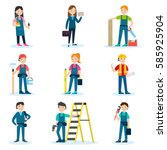 construction team set with... | Shutterstock .eps vector #585925904