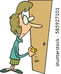 cartoon woman trying to open a... | Shutterstock .eps vector #585927101
