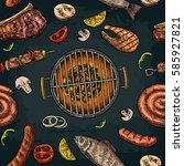 seamless pattern barbecue grill.... | Shutterstock .eps vector #585927821