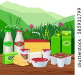 vector illustration. dairy... | Shutterstock .eps vector #585931799