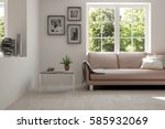white room with sofa and green... | Shutterstock . vector #585932069