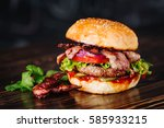 burger with bacon  meat  tomato ... | Shutterstock . vector #585933215