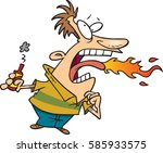 cartoon man eating hot sauce | Shutterstock .eps vector #585933575