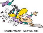 cartoon softball player sliding ... | Shutterstock .eps vector #585933581