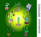 set of cactus. | Shutterstock .eps vector #585936551