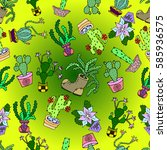 seamless pattern of cactus. | Shutterstock .eps vector #585936575