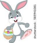 cute rabbit holding easter... | Shutterstock . vector #585941081