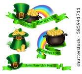 set of st.patrick's day logos.... | Shutterstock .eps vector #585941711