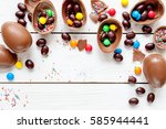 Easter Concept. Chocolate Eggs...