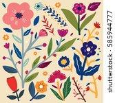 beautiful floral design | Shutterstock .eps vector #585944777