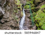 extreme trail with ladder near... | Shutterstock . vector #585946847