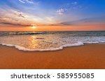 colorful dawn over the sea....   Shutterstock . vector #585955085