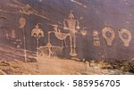 Small photo of A petroglyph panel with a variety of humanoid and animal images portrayed on the cliffs of Butler Wash in the Comb Ridge aea of the new Bears Ears National Monument.