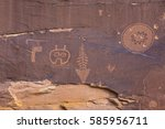 Small photo of A petroglyph panel with a variety of symbols portrayed on the cliffs of Butler Wash in the Comb Ridge aea of the new Bears Ears National Monument.