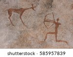 rock paintings on the wall ... | Shutterstock . vector #585957839