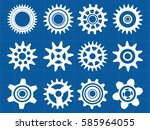 gear icon set technical drawing.... | Shutterstock .eps vector #585964055