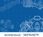 technical blue background with... | Shutterstock .eps vector #585964079