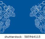 technical blue background with... | Shutterstock .eps vector #585964115